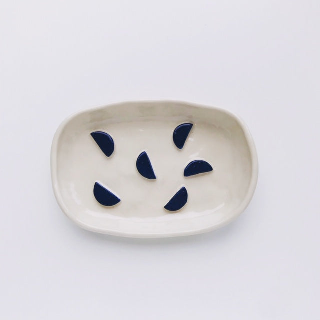 Handmade Stoneware Clay Soap Dish (Navy Semi Circle) - Beci Callow