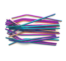 Load image into Gallery viewer, Rainbow Stainless Steel Reusable Straw (Bent)