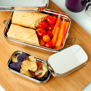 Stainless Steel Lunch Box with Mini Container (Rampur) in use - A Slice of Green