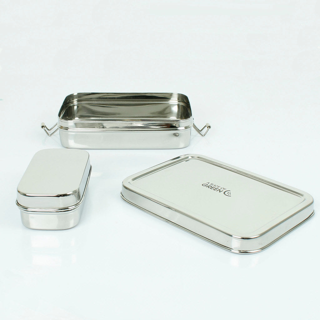 Stainless Steel Lunch Box with Mini Container (Rampur) open - A Slice of Green