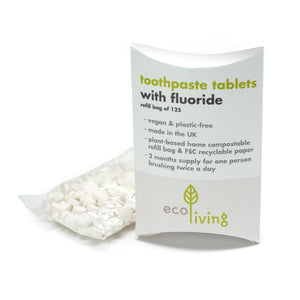 Toothpaste Tablets with Fluoride Refill Bag (125 tablets) - Eco Living