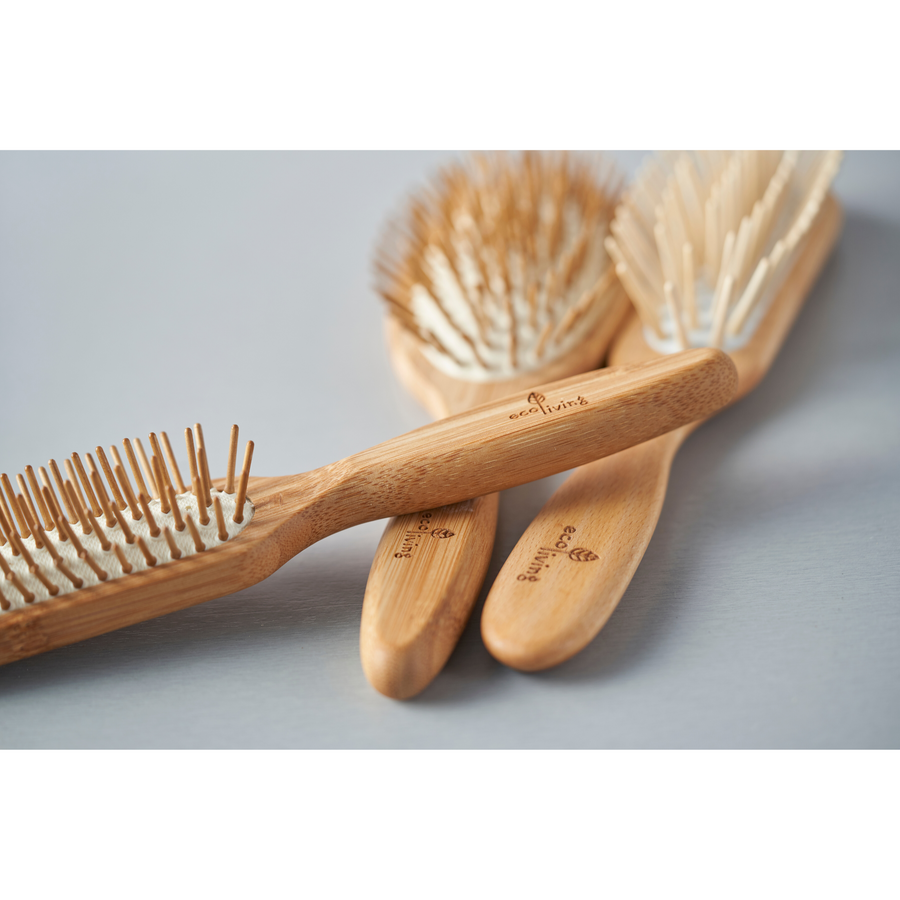 Bamboo Hairbrush With Wooden Pins (Oval)  - Eco Living