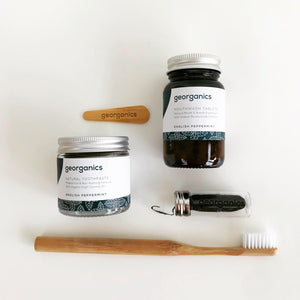 Zero Waste Dental Gift Set Flatlay (Spearmint) - Eco Beau