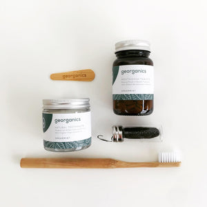 Zero Waste Dental Gift Set Flatlay (Peppermint) - Eco Beau