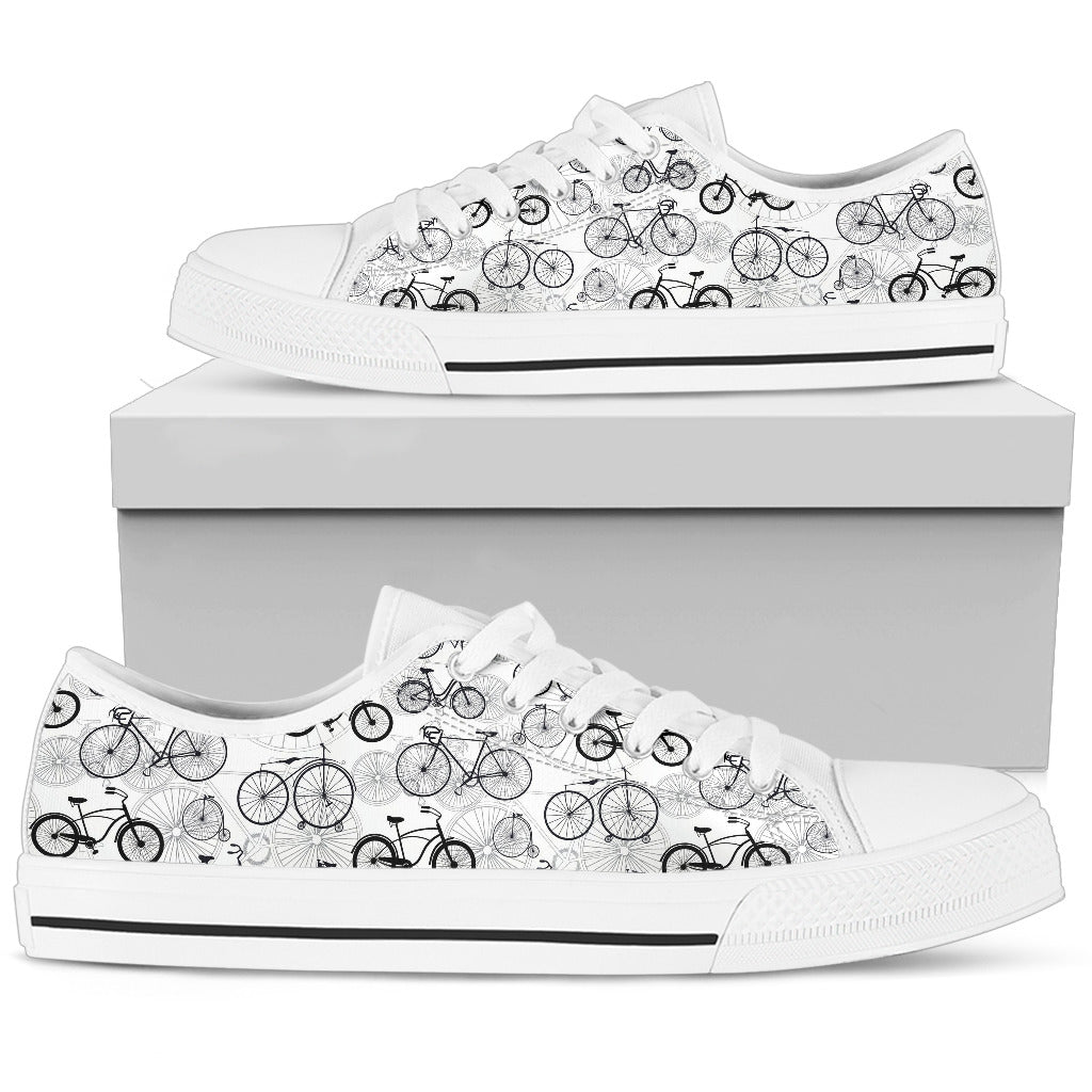 Black White Sketch Bicycle Men's Low Top Shoes
