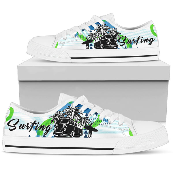 White Camper Van Summer Surfing Men's Low Top Shoes