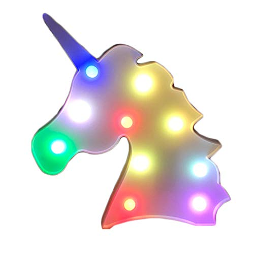 Unicorn Night Light, Ticent & Co White Unicorn Head LED Lamp with Colorful Light, Mystical Gift for Child Kids Baby Girls Bedroom Birthday