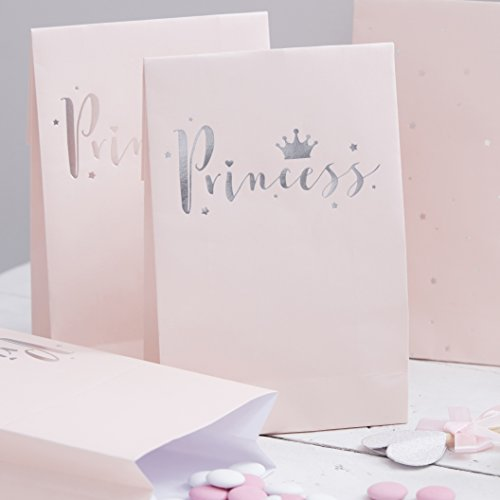 Ginger Ray Princess Pink & Silver Foil Party Bags x 8 - Princess