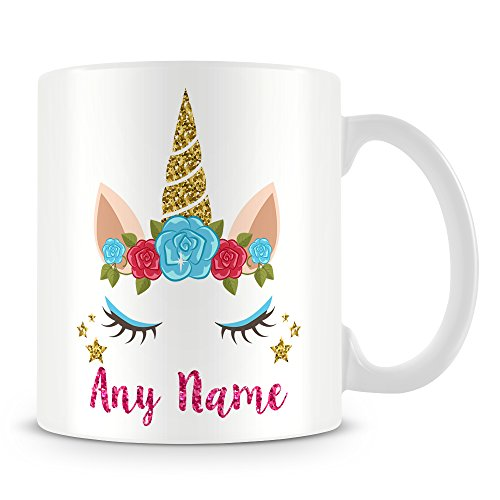 Unicorn Mug - Personalised Cup with Name - Unicorn Horn and Eyes