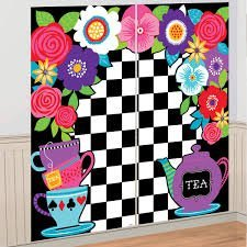 5ft Mad Hatter Tea Party Wall Decoration Kit Surprise Selfie Backdrop Party Kit Set Decoration Pack