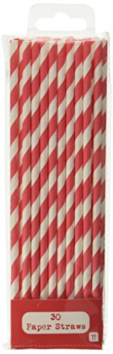 Talking Tables Mix and Match Paper Drinking Straws for Birthdays and Celebrations, Red (30 Pack)