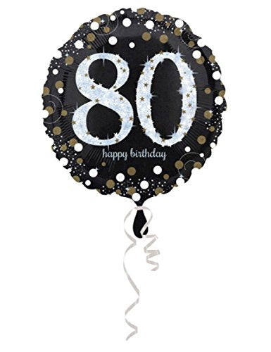 Black Gold Sparkle 80th Birthday Foil Balloon 18""