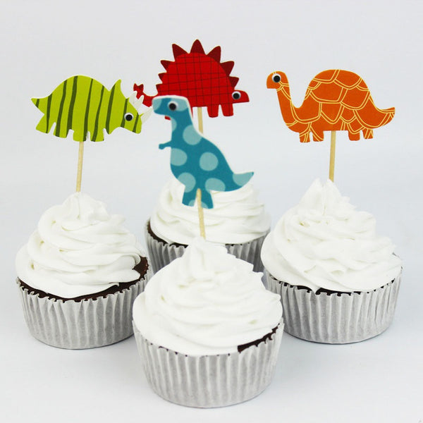 24 Bright Dinosaur Cupcake Toppers