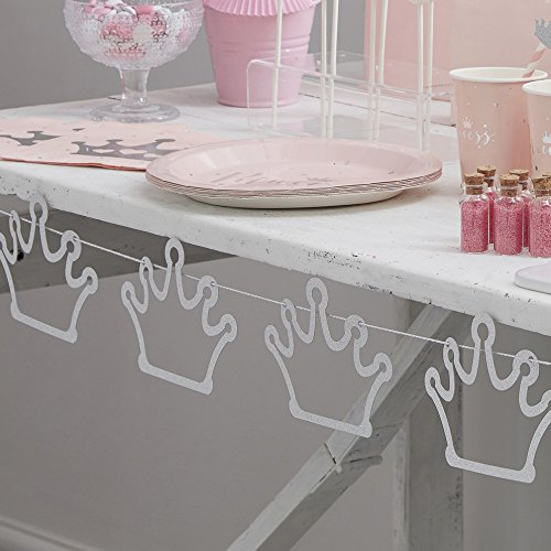 Ginger Ray Silver Glitter Crown Shaped Bunting Banner Party Backdrop - Princess Perfection