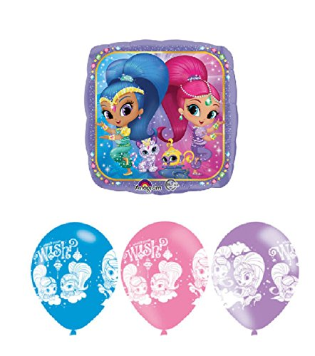 "Shimmer and Shine 1 x 18"" Foil Helium Balloon and 11"" Latex Balloons 6pk"