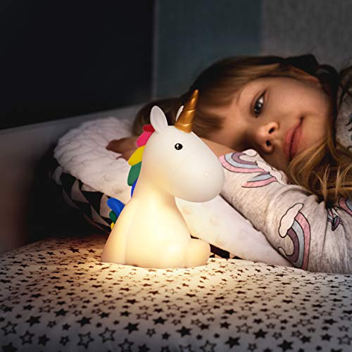 Rainbow Unicorn Children Night Light - Color Changing Bedroom Lamp for Kids