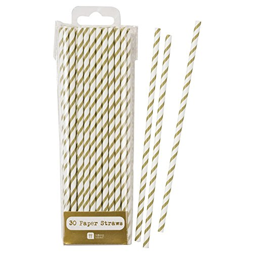 Talking Tables Stripe Party Metallic Drinking Straws for Weddings, Birthday and Party, Gold (30 Pack)