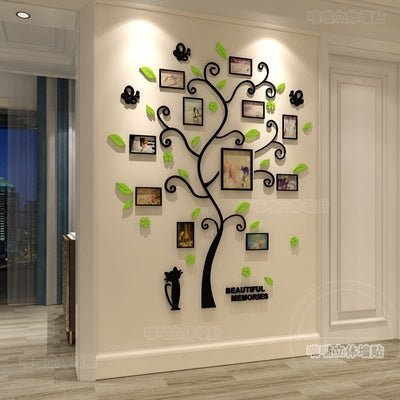 Large 3D Black Family Tree Plastic Wall Decal