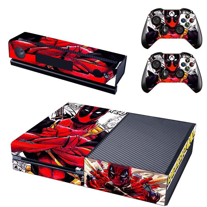 Hot DeadPool Game Skin Decals For XBOX ONE Console +2 Controllers Skin Stickers