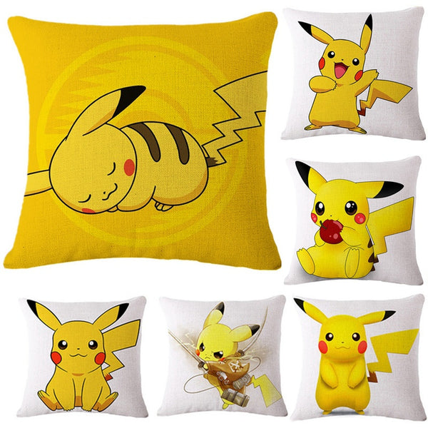 Cute Pokemon Pikachu Pattern Pillow Cover Cushion Cover Fashion Bedding Pillowcase Home Decor Car Sofa Bedroom Pillowcases 45x45