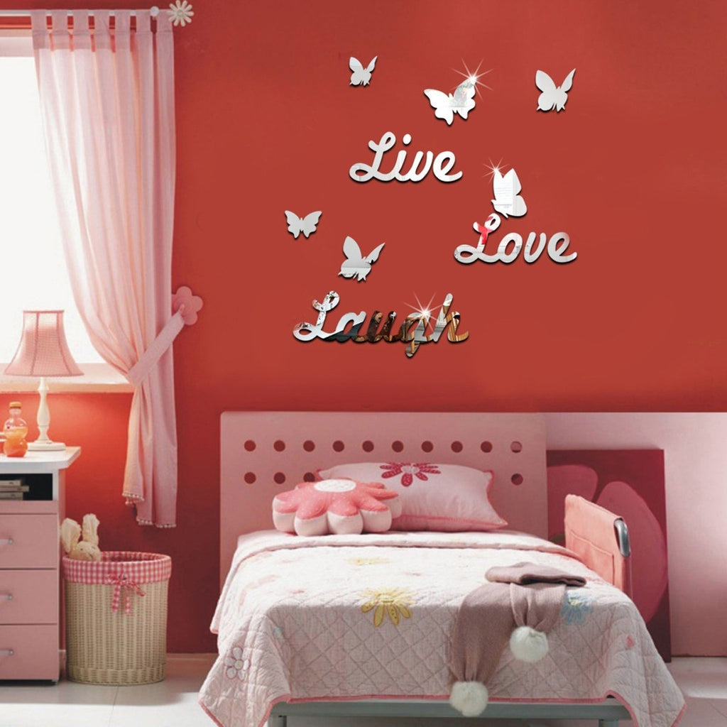5 To  Live Love Laugh Butterfly 3d Mirror Wall Sticker Acrylic Art Decal Mural Home Decor