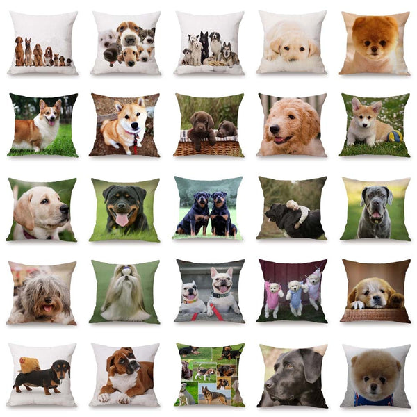 "Labrador & Husky & Teabing Dogs Printed Cushion Covers 18"" × 18"" Sofa & Car Throw Pillow Cases Bedroom Pillows"