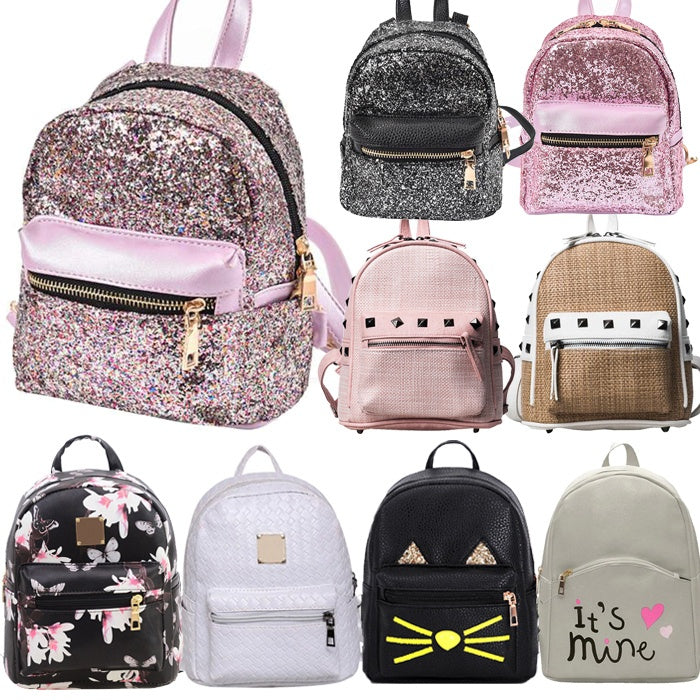 Women Bling Sequins Bags Mater Rivet PU Leather Backpack  Preppy Style School Backpack Mini Bag