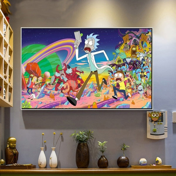 Frameless Rick and Morty Fabric Canvas Psychedelic Trippy Art Silk Fabric Poster U2ACYY1530/h35