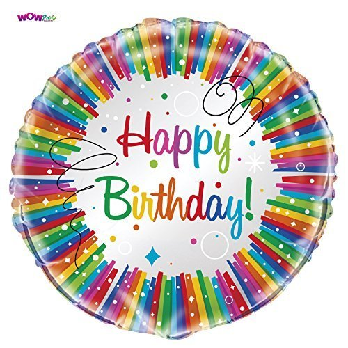 "WOW 18"" Foil Rainbow Ribbons Birthday Balloon"
