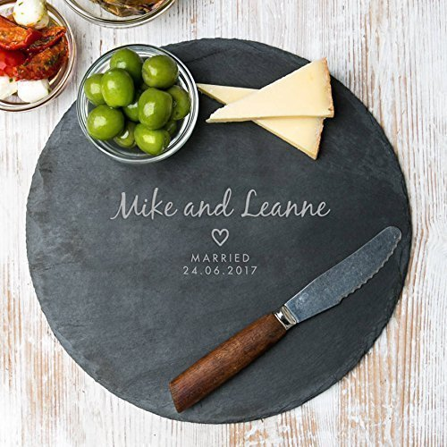 Personalised Slate Cheese Board - Personalised Wedding, Engagement, Anniversary Gift - Large 25cm Diameter