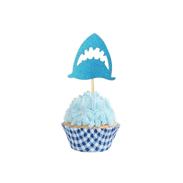 36 Glitter Shark Cupcake Toppers Birthday Cake Picks