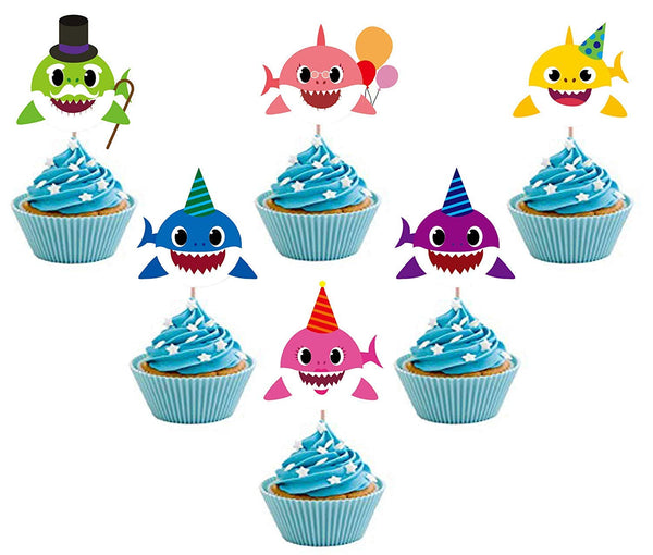 36 Shark Cupcake Toppers with 36Pcs Cupcake Liners Shark Theme