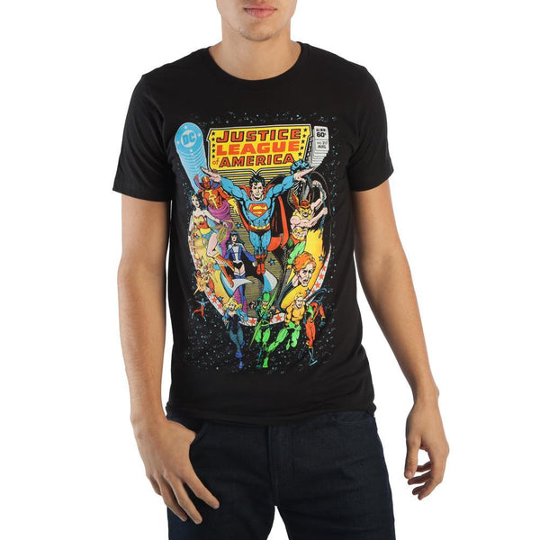 DC Comics JLA Justice League of America Men's Black Tee Shirt T-Shirt