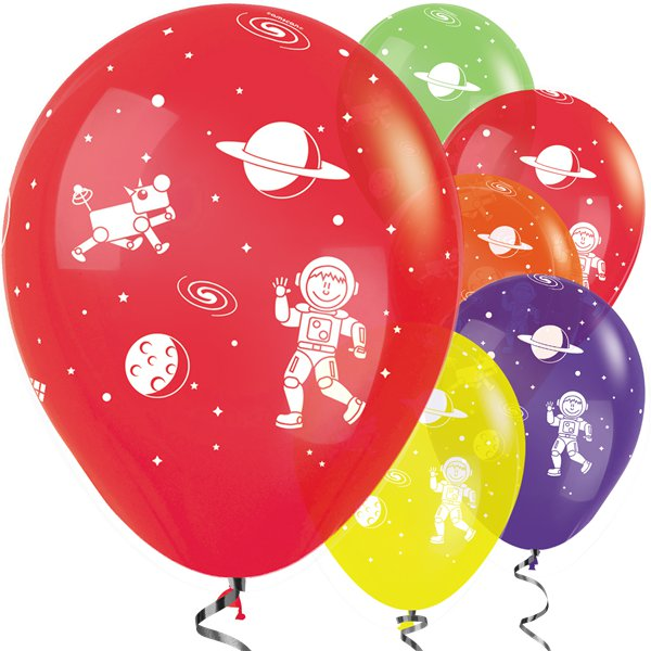 "Bright assorted colour Planets Space Balloons 12"" Birthday"