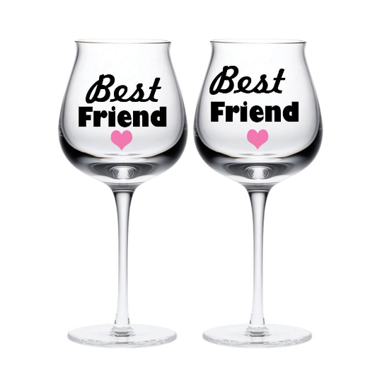 2 Best Friend wine glass Jar vinyl stickers Decals