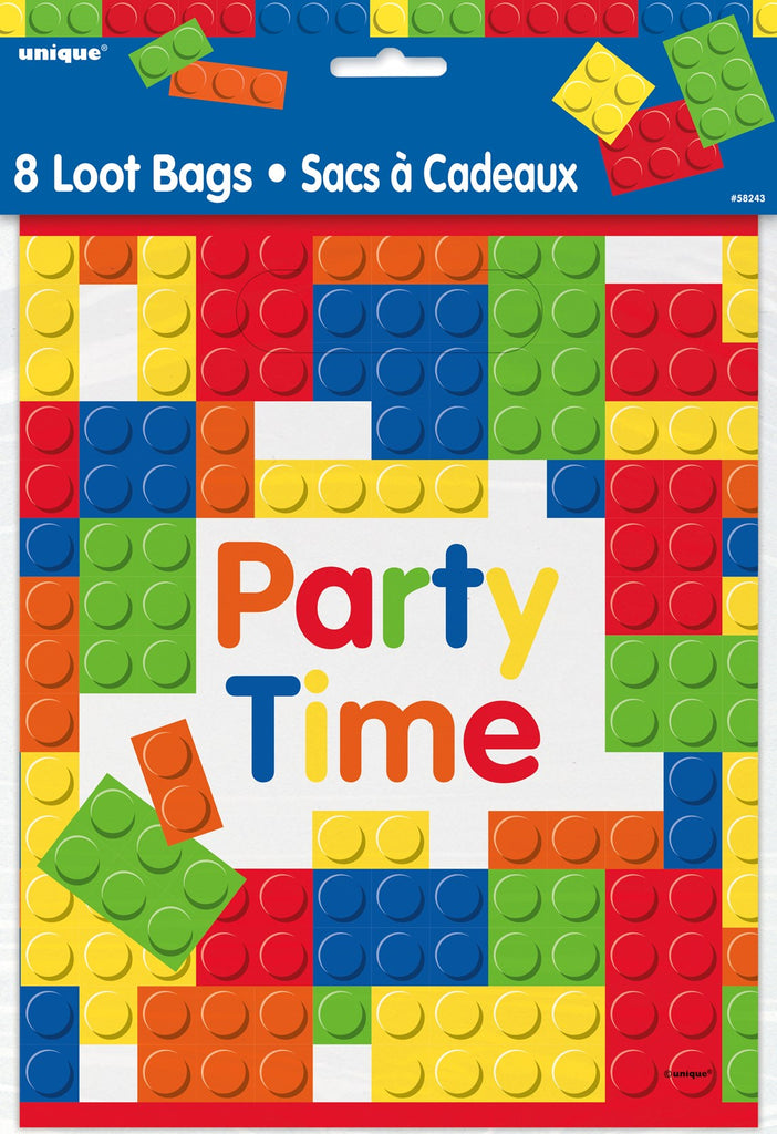 Building Bricks Lego Party Plastic Loot Bags Birthday Party Kids Gift Favours Tableware