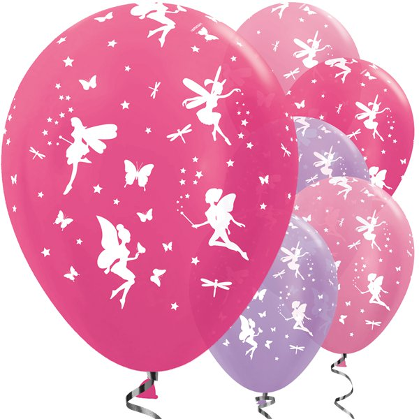 "Pink Purple Fairy Magical Princess Balloons 12"" Birthday Girls Party Fairies"