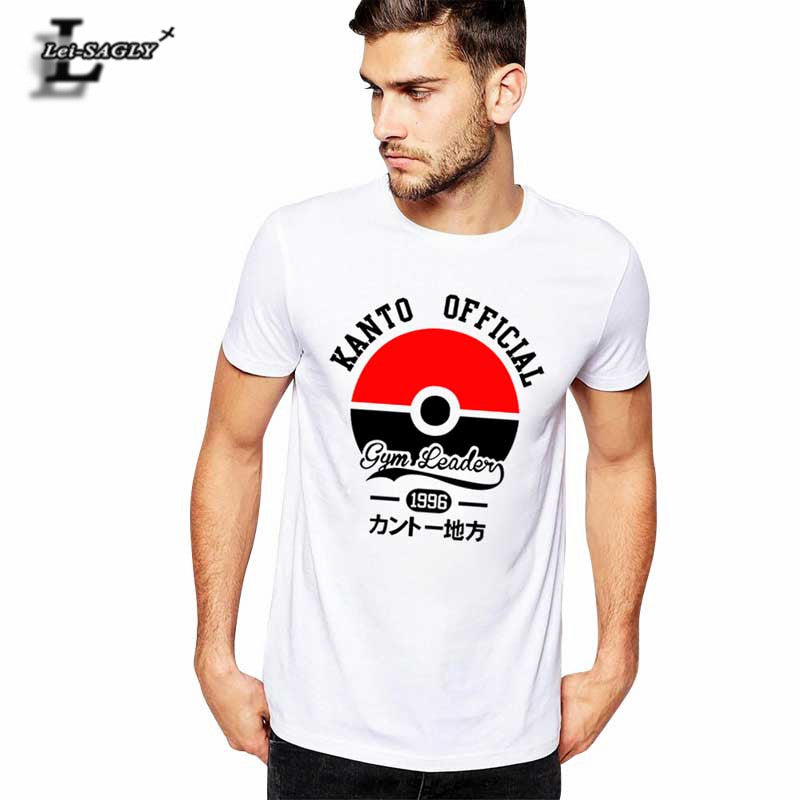 Lei-SAGLY New 2017 Summer Men's T Shirts Pokemon Go Camisetas Anime Casual T-shirt Men Letters Cotton Famous Brand Clothing Tees