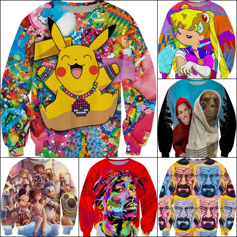 new 3D sweatshirts print Pokemon Pikachu/Tupac/Sailor Moon/Miley Cyrus crewneck pullover hoodie clothing  for men/women