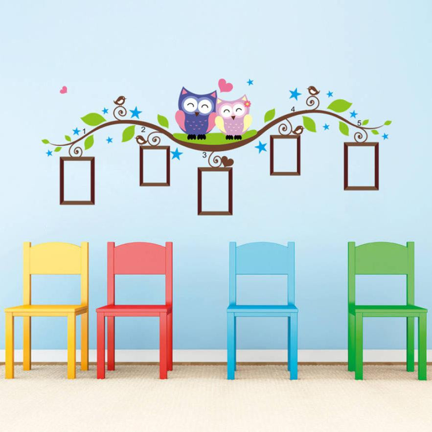 Wall Stickers Couple Owl Family Wall Decal Sticker Removable Photo Frame Kids Baby Room Vinyl XT