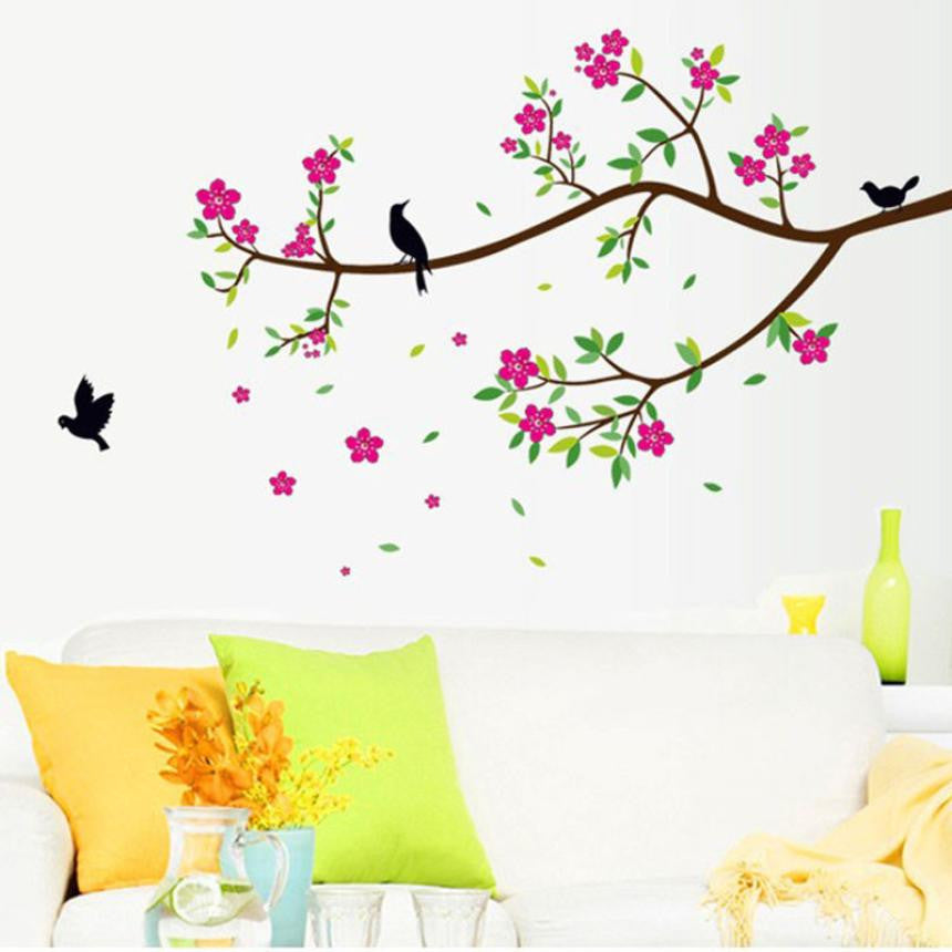 Hot Sale 2016 wall stickers  Flowers And Birds PVC Wall Stickers Decal Removable Art Vinyl Decor adesivo de parede XT