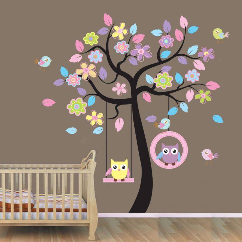 Pastel Autumn Spring Tree Vinyl Decal Wall Sticker