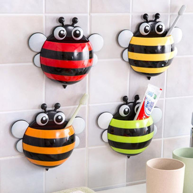 Super Deal Toothbrush Holder Set Family Set Wall Bee Mount Rack Bath toothbrush holder bathroom accessories banheiro HYM17&06