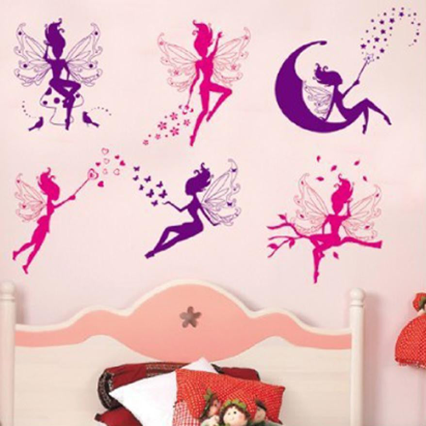 Fantasy wall sticker Flower Fairy stickers adhesive wall art bathroom stickers Home Decor Mural Deca