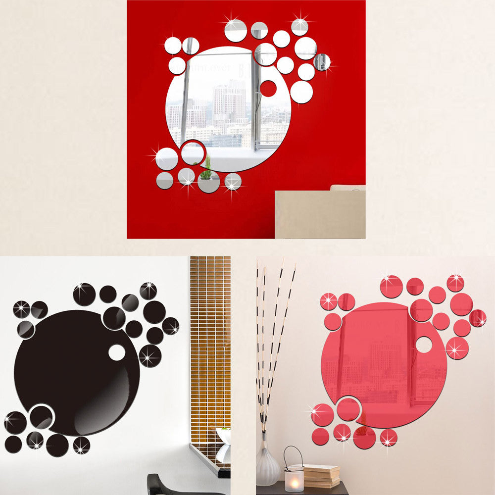 mirror wall stickers Bubble Round Acrylic Wall Sticker Mirror Removable Wall Sticker Background Decoration