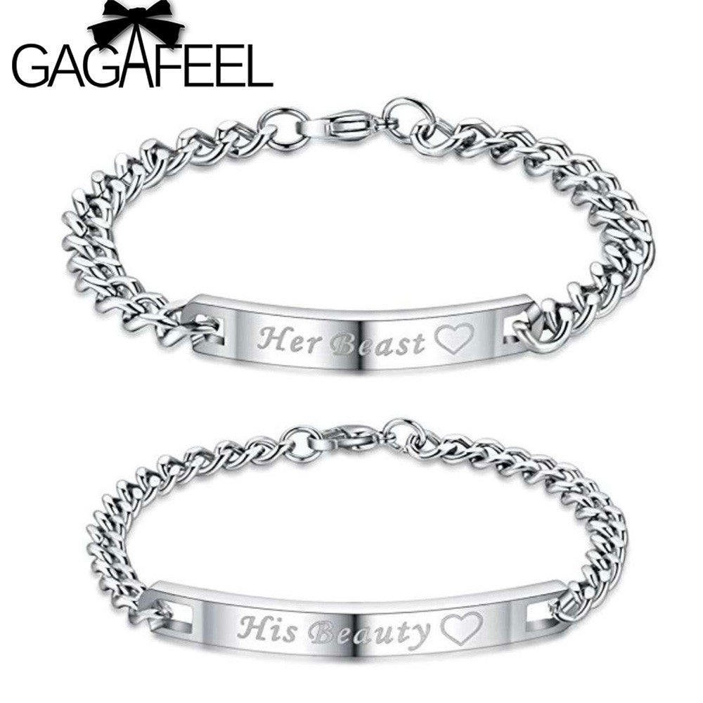 GAGAFEEL Her Beast Couple Bracelets His Beauty Bracelets Customized Name Stainless Steel Romantic Lover Bracelet Bangle-gamesandgeeks-SelectionPerfect
