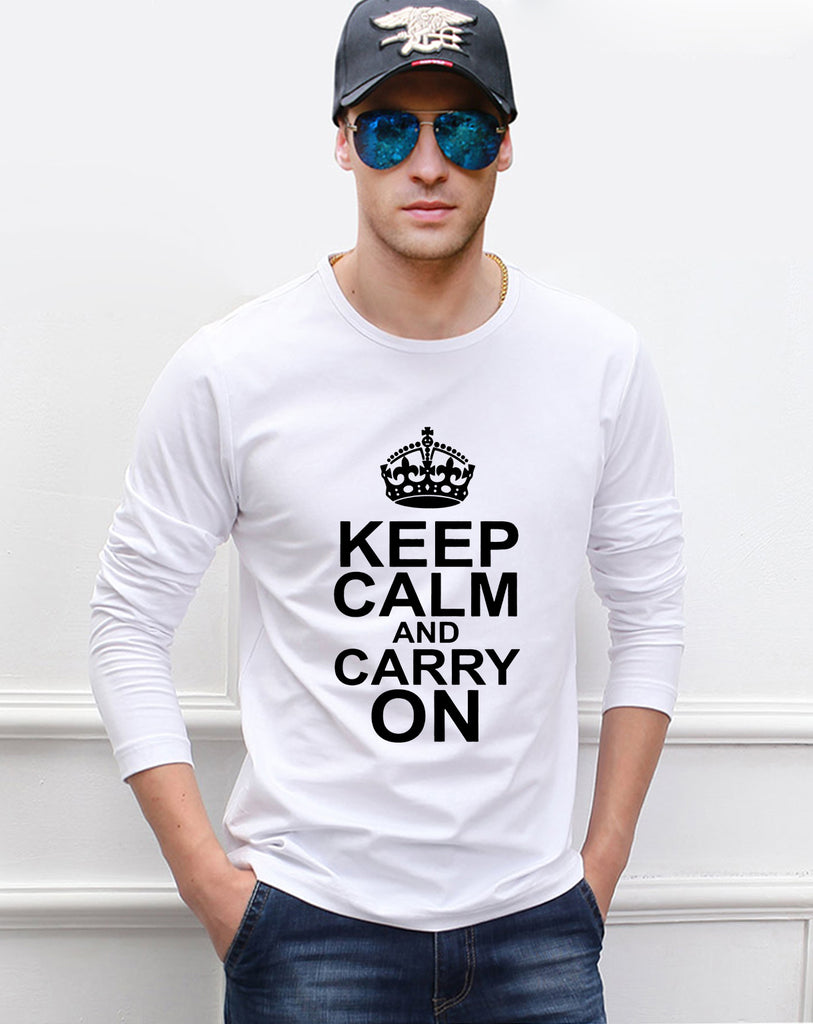 Keep Calm And Carry On print Pokemon men long sleeve T-shirts 2017 newest autumn 100% cotton high quality fashion man t shirt