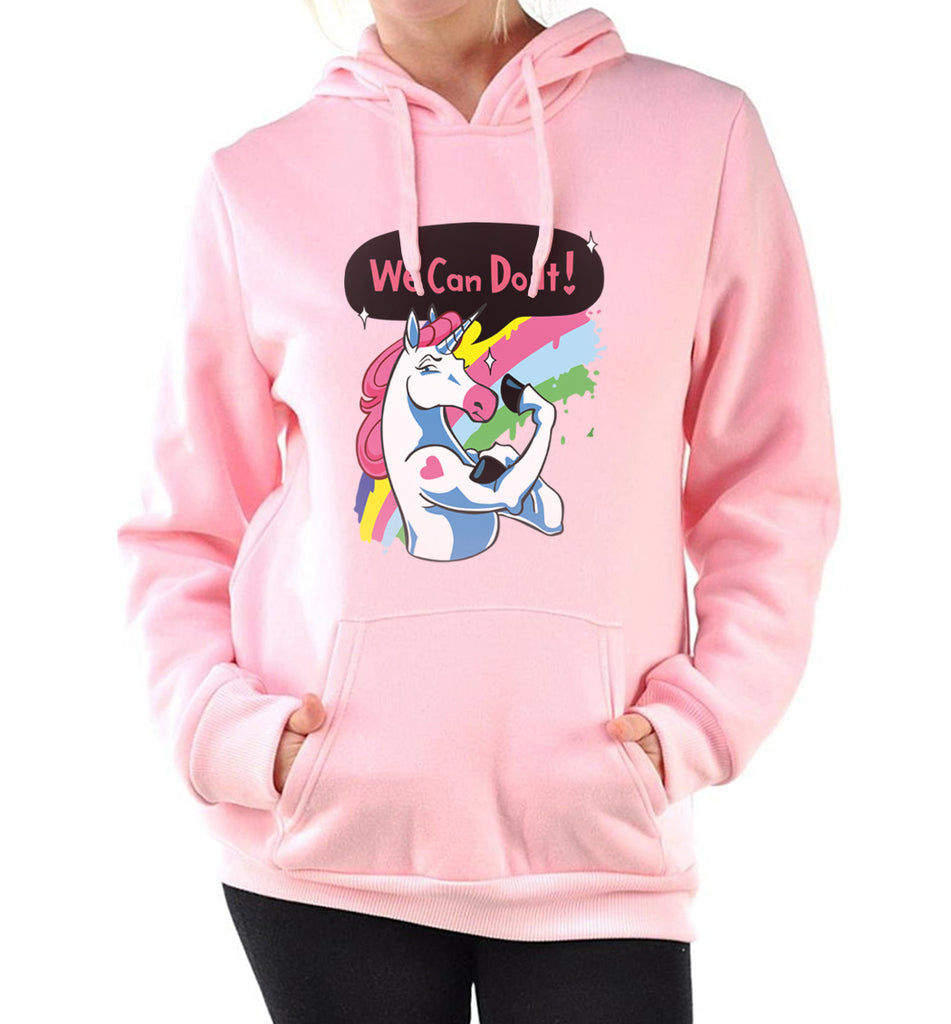 Funny we can do it printed hoodie Cartoon Unicorn sweatshirts womens
