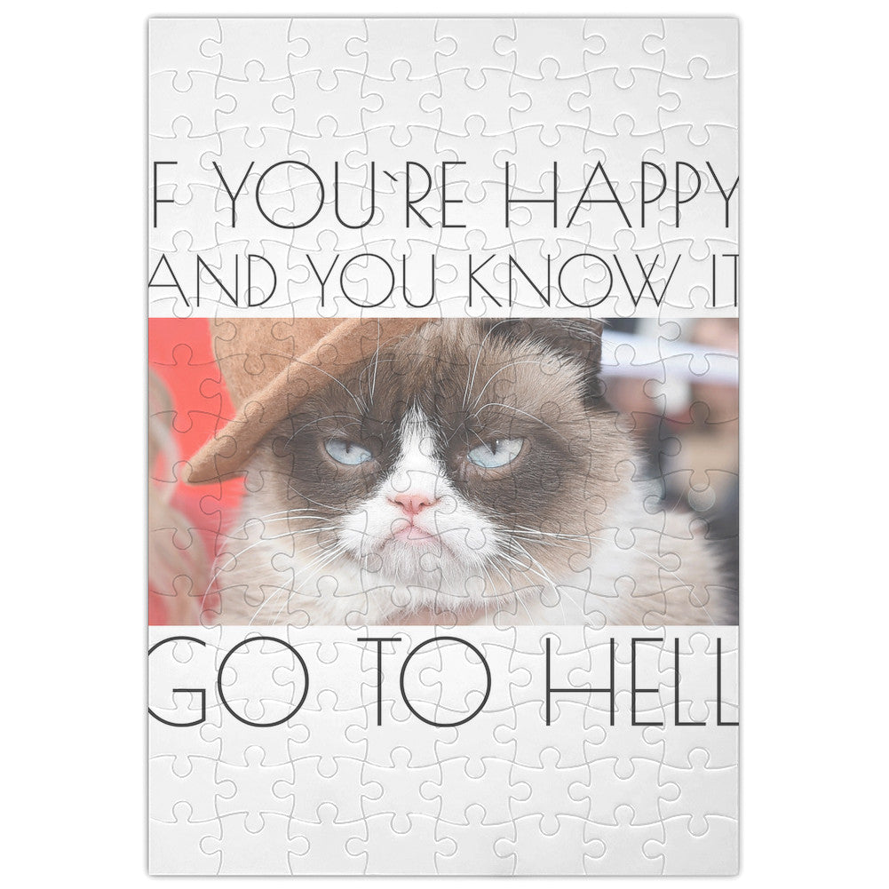 Grumpy Cat If You're Happy And You Know It Funny  Jigsaw Puzzle Maze| Unique And Custom Learning Games For Kids & Adults| Learning Made Fun With Custom Design & Printed Jigsaw Puzzles