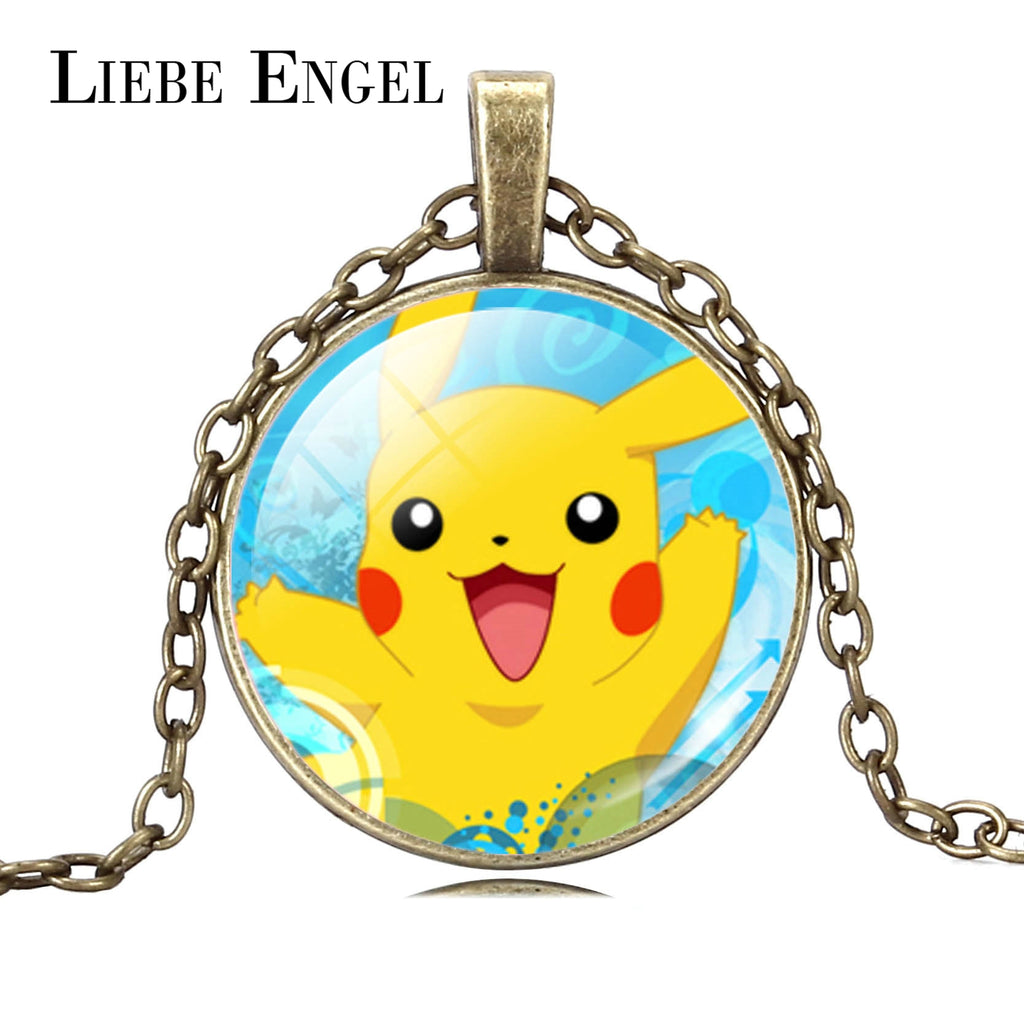 LIEBE ENGEL 2017 Pokemon Go Fine Jewelry Silver & Bronze Statement Chain Necklace Pikachu Glass Art Picture for Women And Men
